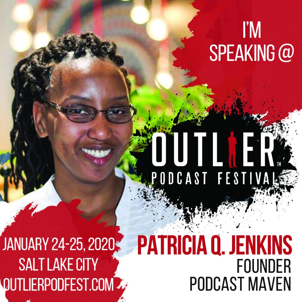 Speaker badge for The Outlier Podcast Festival.