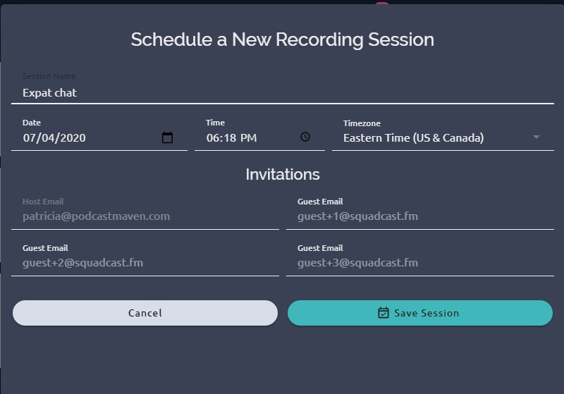 Screenshot of scheduling page in Squadcast.